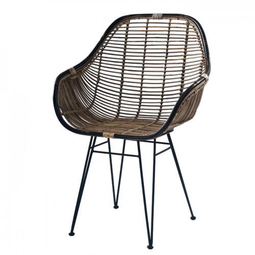 acheter fauteuil en rotin naturel fonce