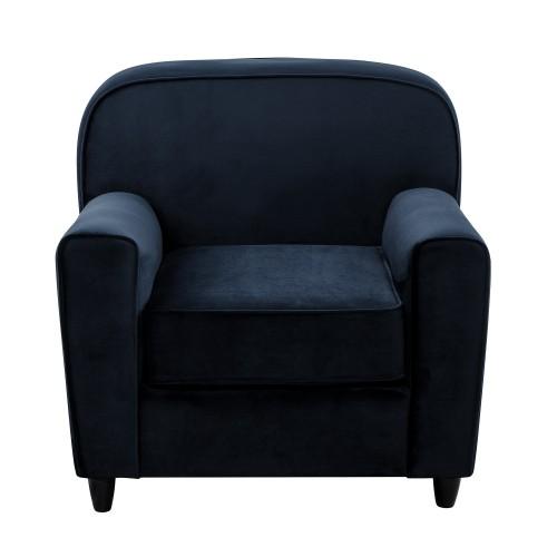 acheter fauteuil en velours bleu fonce