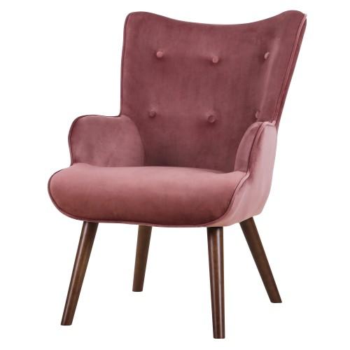 acheter fauteuil velours rose pieds fonce