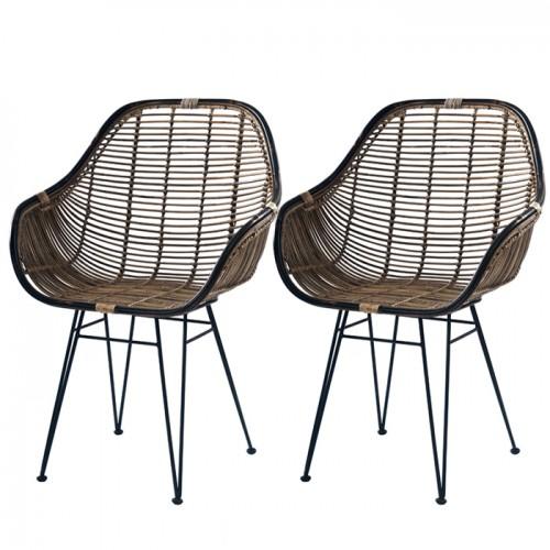 acheter fauteuils lot de 2 rotin fonce