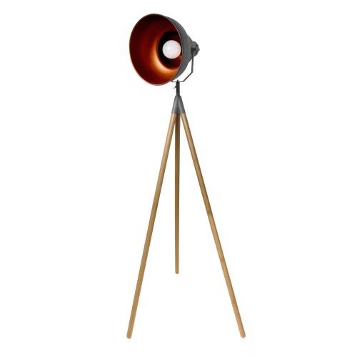 acheter lampadaire noir trepied bois