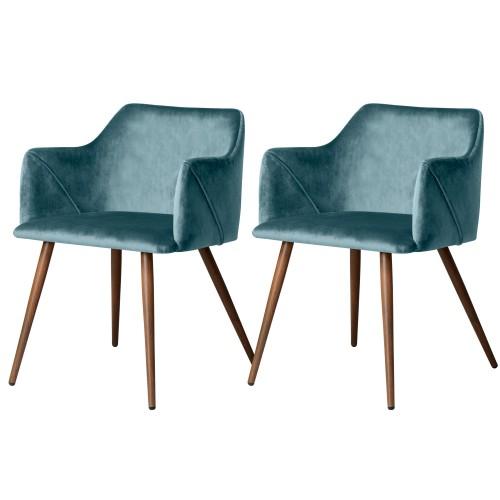 Chaise Daisy en velours bleu (lot de 2)