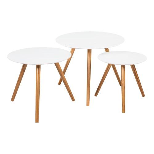Table basse ronde Liv blanche (lot de 3)