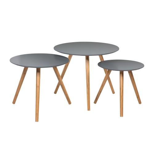 Table basse ronde Liv grise (lot de 3)
