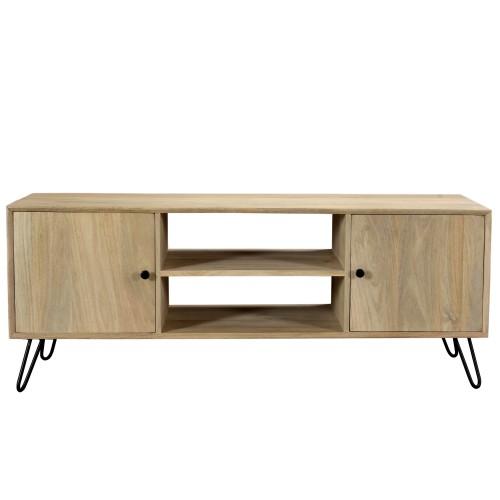 acheter meuble tv bois clair pieds metal