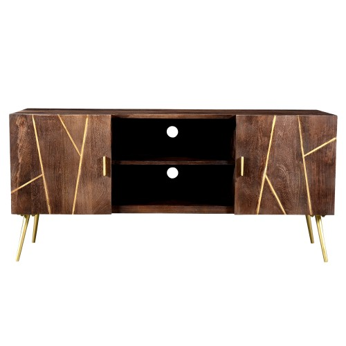 acheter meuble tv bois et details dores