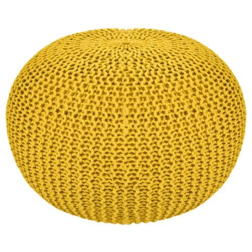 Pouf tricot jaune Elsa ∅50cm