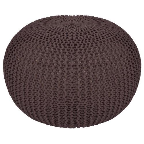 acheter pouf marron tricot