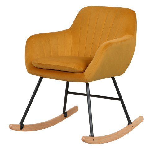Rocking-chair Isola en velours jaune