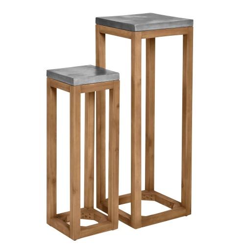 acheter selette lot de 2 beton et bois