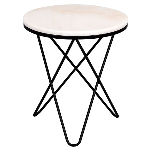 Table d'appoint ronde Oda marbre blanche