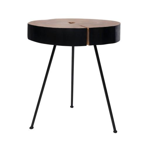 acheter table basse ronde bois noir