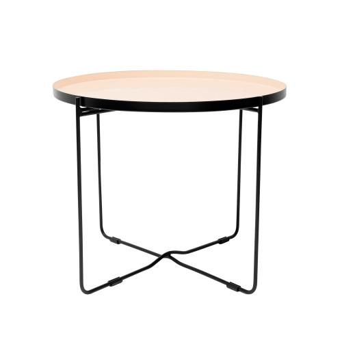 acheter table basse ronde metal beige noir