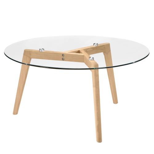 acheter table basse ronde transparente