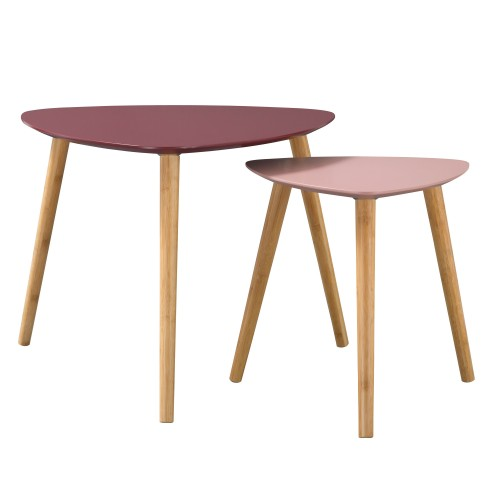 Table basse Scandinave bicolore rose (lot de 2)