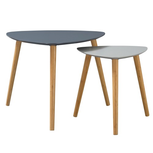 Table basse Scandinave bicolore grise (lot de 2)