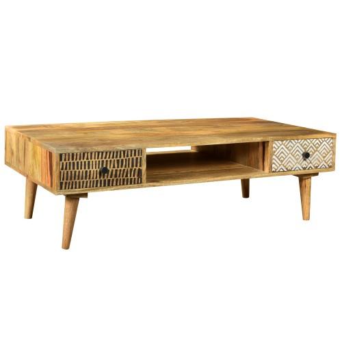 Table basse Tali en bois 2 tiroirs