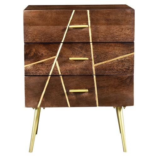 acheter table de chevet bois details laiton
