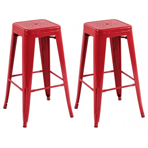 Tabouret de bar Indus rouge 73 cm (lot de 2)
