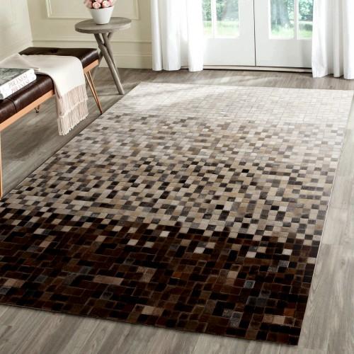 acheter tapis cuir beige marron