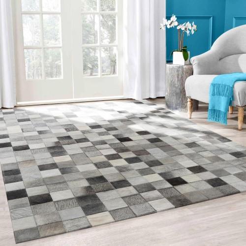 acheter tapis cuir gris