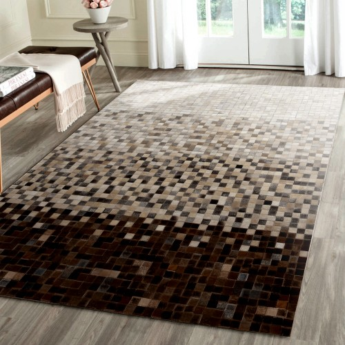 acheter tapis cuir marron beige