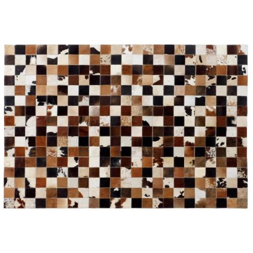 acheter tapis cuir marron - Tapis Peau