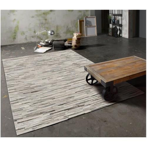 acheter tapis gris clair cuir