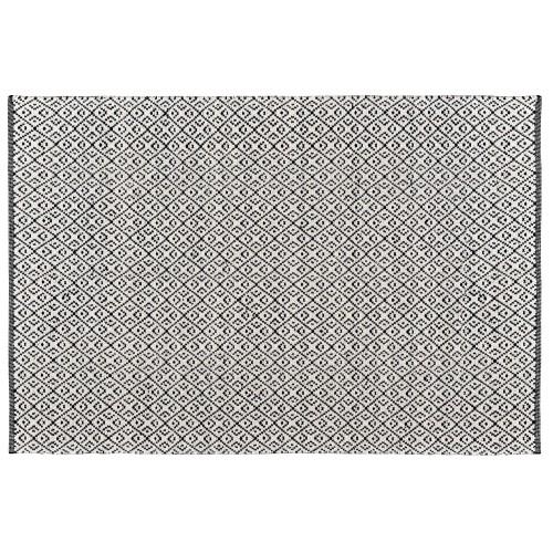Tapis Malika noir en laine et coton 200x300 cm