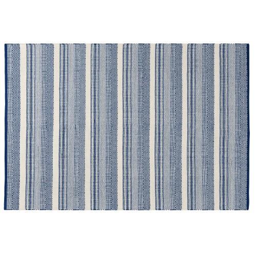 acheter tapis rectangulaire bleu et blanc