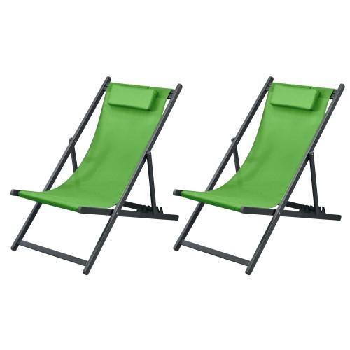 Chaise longue Calvi vert amande (lot de 2)