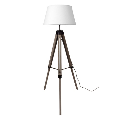 achat lampadaire trepied bois metal blanc pas cher