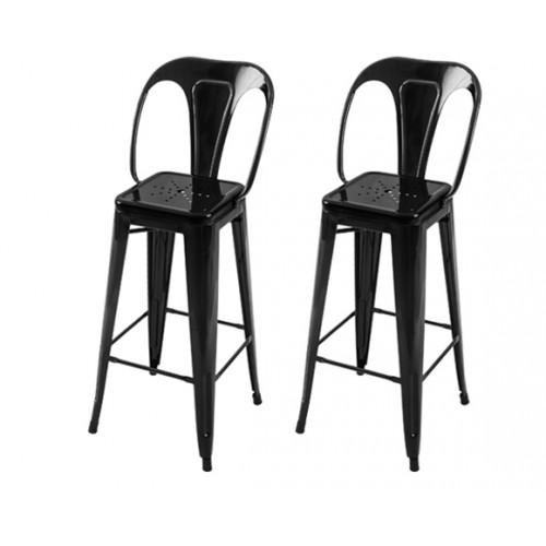 Chaise de bar Indus noire 76 cm (lot de 2)
