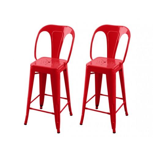 Chaise de bar Indus rouge 66 cm (lot de 2)