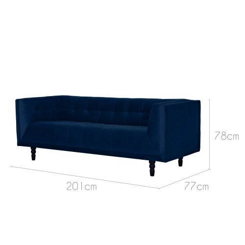 canap oxford 3 places en velours bleu fonc commandez. Black Bedroom Furniture Sets. Home Design Ideas