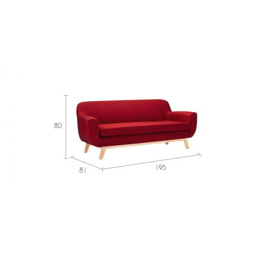 Canap copenhague 3 places rouge commandez nos canap s for Canape a bas prix