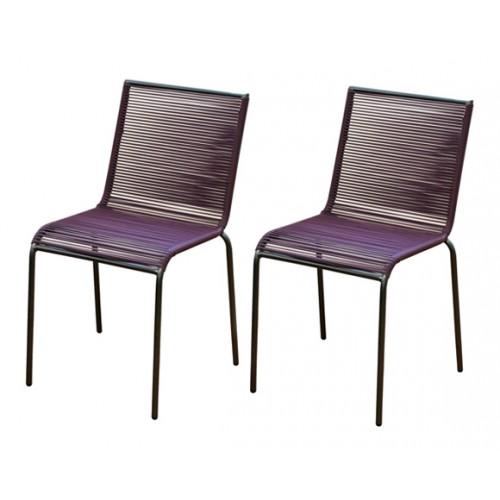 Chaise de jardin Chacabuco cassis (lot de 2)