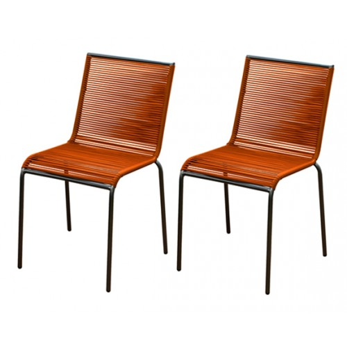 chaise de jardin chacabuco orange lot de 2