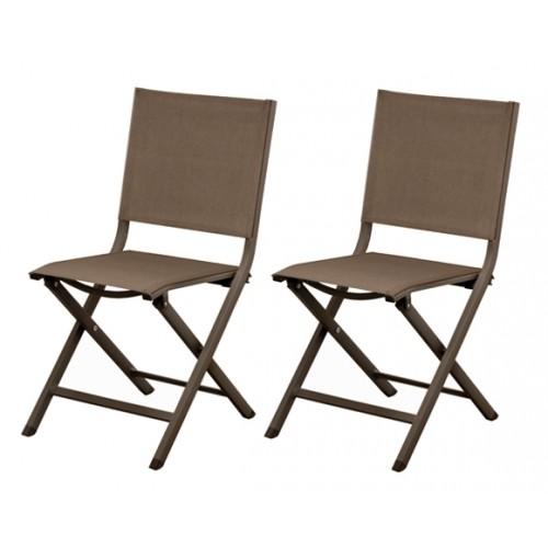 chaise de jardin terra cafe lot de 2