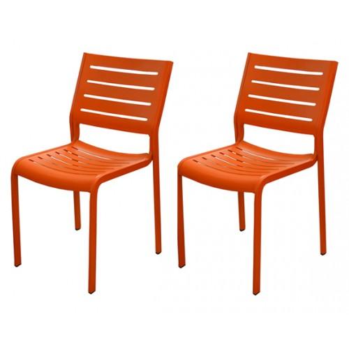 chaise isla orange jardin
