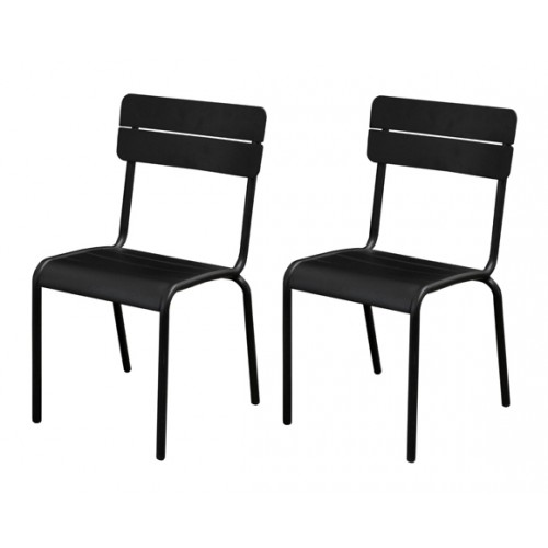 chaise jardin casilda noire lot de 2