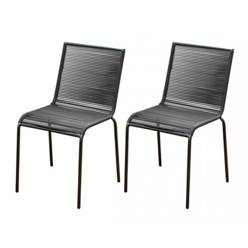 chaise jardin chacabuco grise lot de 2