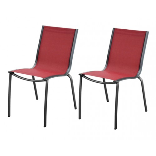 chaise jardin santa rosa rouge lot de 2