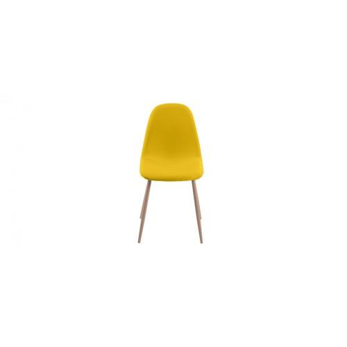 chaise jaune tissu pieds bois