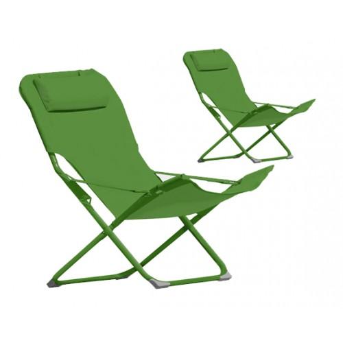 chaise longue Talanga verte lot de 2