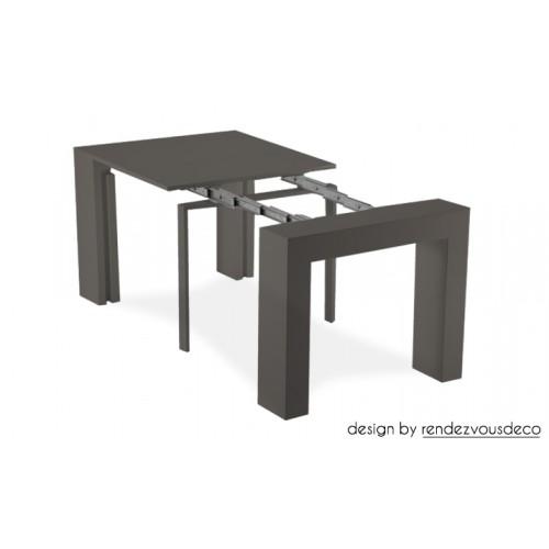 console extensible laqu e grise fondez pour nos tables. Black Bedroom Furniture Sets. Home Design Ideas