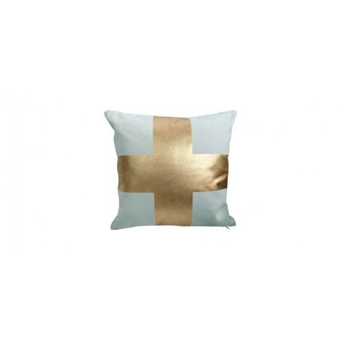 coussin decoratif bleu croix doree