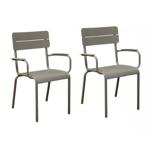 fauteuil de jardin bragado taupe lot de 2