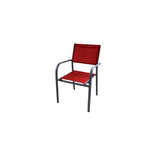 fauteuil de jardin cancun rouge lot de 6