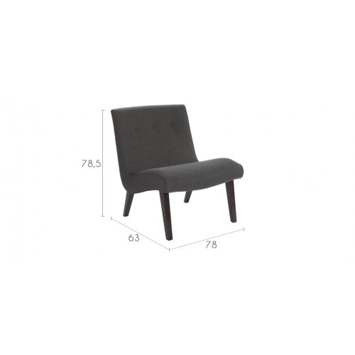 fauteuil gris capitonne pied bois